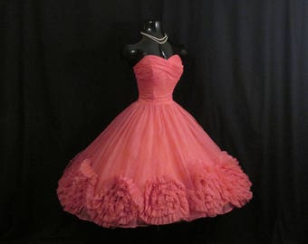 Vintage 1950's 50s Strapless Hot Pink Coral Ruched Chiffon Organza Rosettes Party Prom Wedding DRESS