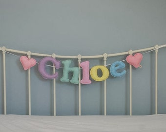 Name garland - large felt name garland - felt letters - hearts - personalised - bunting - child's decor - heart - felt - MADE TO ORDER