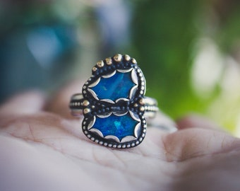 Australian Black Opal Silver Ring with 18k Gold Details, Blue Opal Stacking Ring with Gold Accents, Size 8 Sterling Blue Opal Doublet Ring