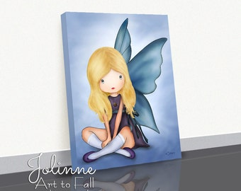Girls Room Drawing Angel Picture Canvas Print Personalized with hair and skin color Artwork for Children's Bedroom Baby Shower gift Nursery