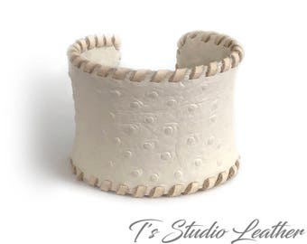 Leather Cuff Bracelet Ostrich Print in Off White with Whipstitched Edge