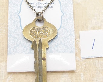 Long Vintage Key Necklace with Your Choice of a Star Housekey