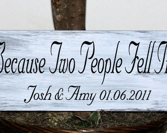 Primitive - All because two people fell in love names with established date wood sign