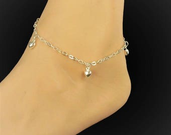 Four hearts ankle bracelet with silver embroidery