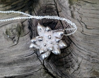 Succulent Necklace, Sterling Silver Botanical Jewelry, Large Succulent Jewelry