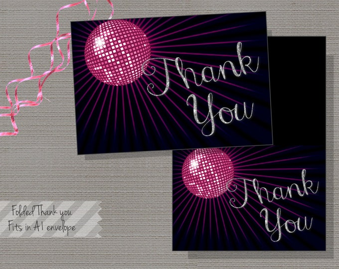Pink Disco thank you card, Silver Glitter, Disco Thank you -INSTANT DOWNLOAD - Chloe Collection