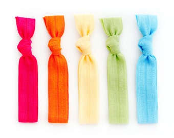The Bright Package - 5 Rainbow Elastic Solid Color Hair Ties that Double as Bracelets by Mane Message on Etsy