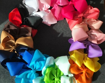 Set of 20 Large Hair Bows, 6 Inch Hair Bows, Big Hair Bows, Girls Hair Bows, Big Bows, Large Hair Bows Set, French Barrette Clips, Baby Bows