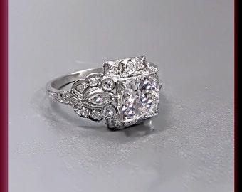 Art Deco Engagement Ring Antique Engagement Ring Art Deco Ring Statement Ring Alternative Engagement Ring Filigree Ring Platinum Ring Unique