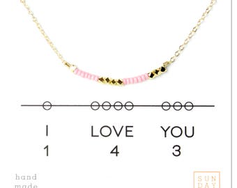 Secret Code Necklace - Friendship Necklace - I love you 143 Necklace - Pink