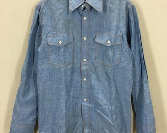 Vintage Chambray Button Down Shirt W/ Embroidered Amarit Beer Thailand