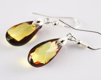 Faceted Earrings, Amber Earrings, Amber Silver Earrings, Amber and Silver Jewellery, Handmade Earrings, Dangle Drops Earrings,