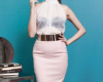SATIN PENCIL SKIRT | Made-to-Measure for the Perfect Fit