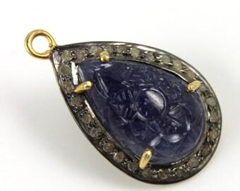 Pave Pendant, Pave Diamond, Pave Saphhire Pendant, Saphhire Charm, Saphhire , Saphhire Connector, Gold Plated Over Silver. (SAPP/DIA/006)
