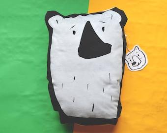 Handmade Polar Bear Cushion Dark Grey