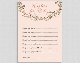 Peach Wishes For Baby Cards, Peach Wreath Baby Shower Activity, DIY Printable, INSTANT DOWNLOAD