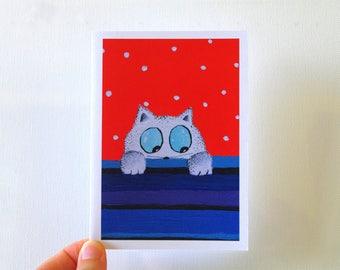 Birthday card Funny card, Cat birthday card, funny birthday card, Red birthday card for her, Cute birthday greeting card Friend Birthday