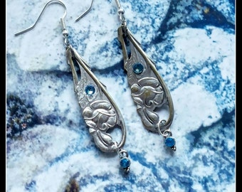 Handmade silver spoon and turquoise crystal rose earrings