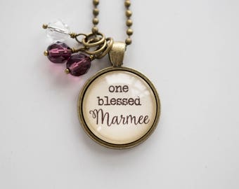 Marmee Pride Necklace - Blessed Necklace - Birthstone Jewelry One Blessed Marmee Pendant Text Jewelry Custom Necklace Name Mothers Day Gift