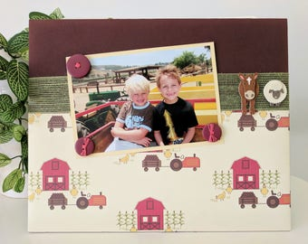 Down On The Farm - Magnetic Picture Frame Handmade Gift Present Home Decor by Frame A Memory Size 9 x 11 Holds 5 x 7 Photo - Little Kid Room