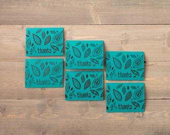 Thank you cards, Block printed cards, Nature prints, Autumn leaves, Tribal art cards, Teal notecards, Gift ideas for her, Set of 6