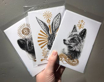 "GREETING CARDS, 4.13"" x 5.83"" - Three original designs to choose from, Fox, Hare, or Pine Marten, with blank interior and envelope included"
