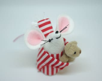 Felt mouse, mouse in pijamas, mouse with teddy, Felt mice, White mouse, cute hamster,