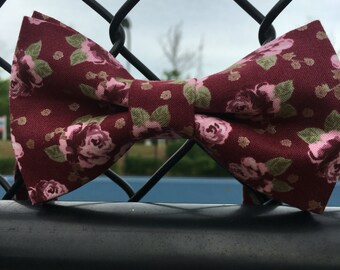 Burgundy and pink floral print bow tie, ring bearer bow tie, burgundy floral print bow tie