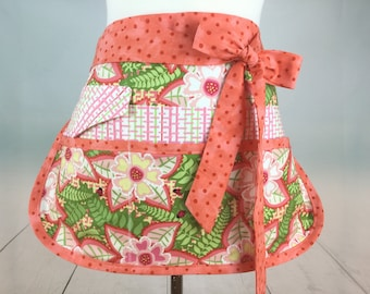 Iris  Half Vendor/Utility Sassy Apron, Womens Regular and Plus Sizes, 6/8 Pockets, great for Teachers, Gardening, Crafts