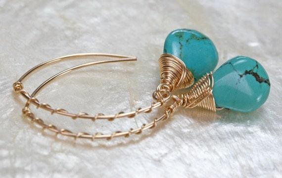 Turquoise Earrings - Gold Earrings - Small Turquoise Earrings - Dangle Earrings