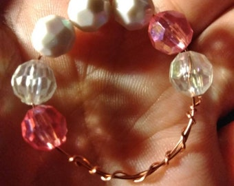 Whimsical Bright Pink and White beaded ring