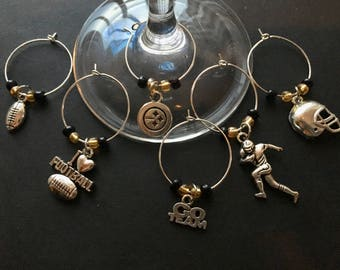 PITTSBURGH STEELERS Football Wine Charms - Set of 6