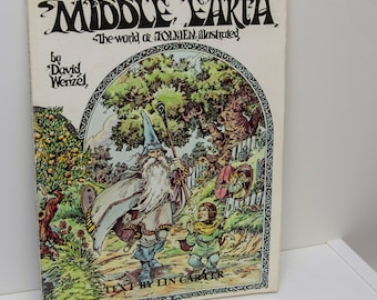 """Illustrated Fantasy Book """"Middle Earth, The World of Tolkien"""" 1977 The Hobbit Booksy Gifts for Book Lovers Full color black & white artwork"""