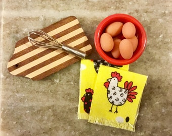 Dollhouse Miniature Set of (2) Rooster/Chicken Dish Towels 1:12 Scale