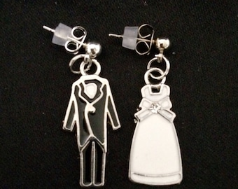 Post Back Earrings Featuring Silver Metal And Enamel Bride And Groom