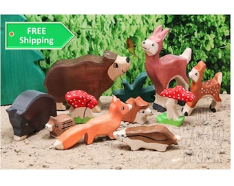 SALE - Forest Set, Pretend Play, Nature table toys, Waldorf toys, wild animals, Toddler toys, Wooden toys, Partyfavors for Boys Girls