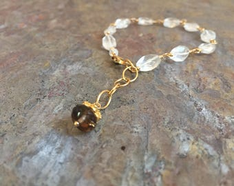 Quartz crystal and smokey quartz gemstone gold bracelet