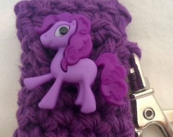 Purple Pony Lip Balm Holder - Pony Chapstick Case -  Lanyard Lip Balm Cozy - Gifts for Her - Stocking Stuffer