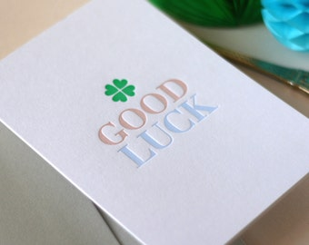 Good Luck Letterpress Card
