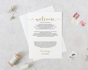 Wedding Welcome Letter Template Welcome Bags Wedding