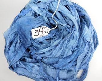 Sari silk ribbon, Silk CHIFFON sari ribbon, Silk Sari Ribbon, Blue sari ribbon, spinning supply, tassel ribbon, sari ribbon, sky blue ribbon
