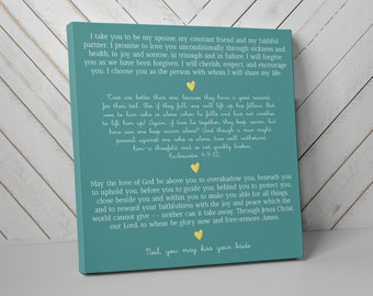 Wedding Gift for Couple, Vows on Canvas, Choose your Size