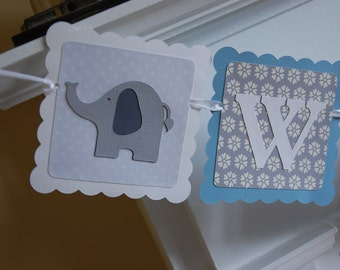 Welcome Baby Banner, Elephant Baby Shower Banner, Elephant Decorations, Elephant Party, Pastel Blue, Grey, White