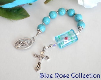 Chaplet of Seven Sorrows of the Blessed Virgin Mary, Turquoise Howlite gemstones Chaplet of seven sorrows of Mother Mary, Servite Rosary