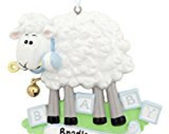 Baby Sheep Blue for boy holiday ornament