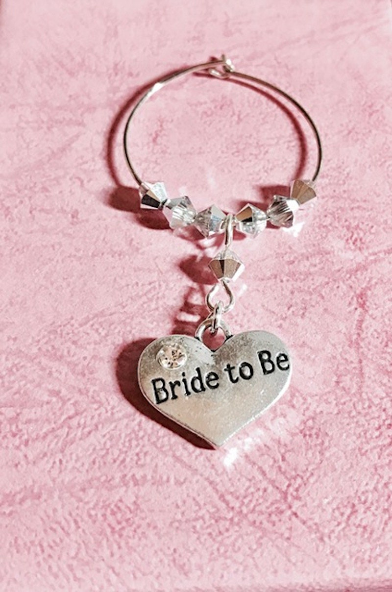 Bride to Be Wine Glass Charm Engagement Hen Party