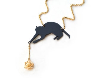 Black cat necklace, pet lover necklace,short necklace, cat playing with ball of yarn, statement necklace, acrylic cat pendant, black kitten