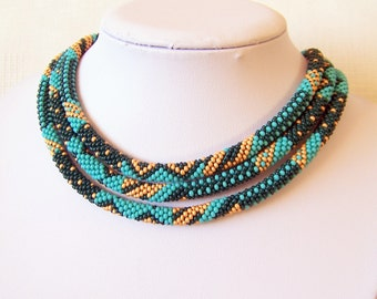 Long Beaded Crochet Rope Necklace - Beadwork necklace - Elegant necklace- Geometric Patchwork necklace - turquoise, emerald, gold