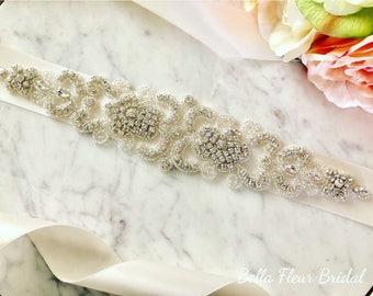 Bridal Belt, Rhinestone Wedding Sash, Bridal Accessory, Wedding Dress Sash, Custom Bridal Sash, Elegant Bridal Sash, Ribbon Sash Belt