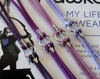 4 COLORS Hawkeye Bracelet Marvel Comic Inspired Jewelry Clint Barton Kate Bishop Avenger Silver Arrow Charm Purple Faux Suede Nerd Geek Gift